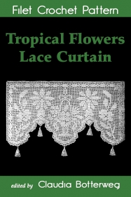 Tropical Flowers Lace Curtain Filet Crochet Pattern