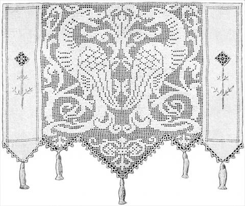 Elegant Dragons Lace Curtain Filet Crochet Pattern Claudia