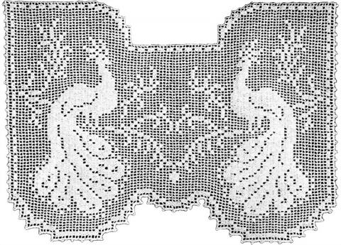 Regal Peacocks Lace Curtain Filet Crochet Pattern Claudia