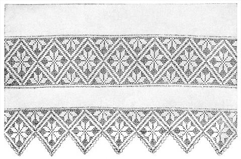 Quilt Block Lace Edging Insertion Filet Crochet Pattern Claudia