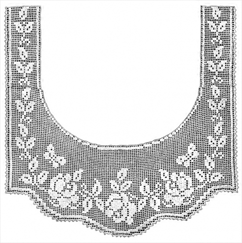 Rose and Butterfly Lace Border Filet Crochet Pattern
