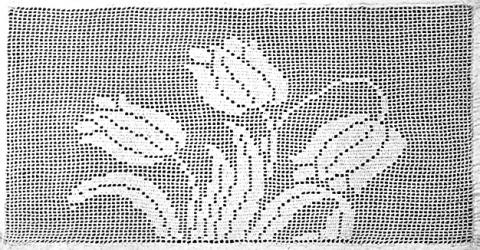 Tulip Lace Panel Filet Crochet Pattern Claudia Botterweg Books