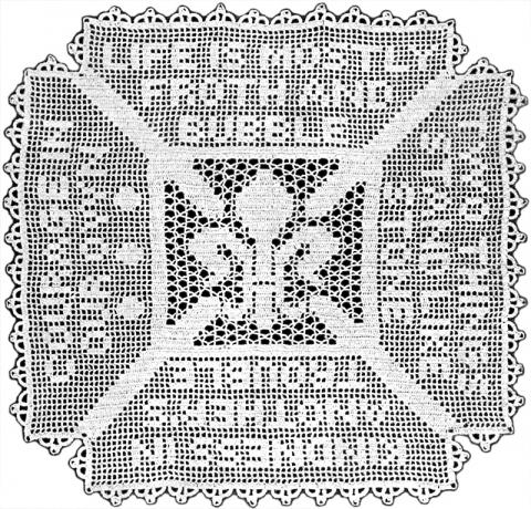 Fleur De Lis Square Doily Filet Crochet Pattern Claudia Botterweg